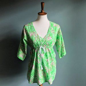 Lilly Pulitzer Green Bean Floral Blouse Size S